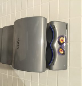 creepy hand dryer at Halloween Alley Office