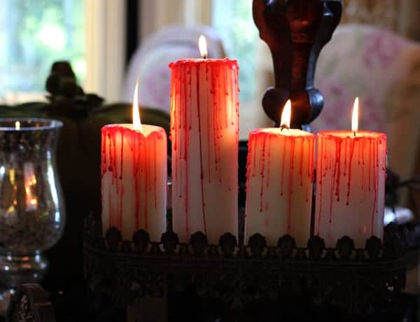 Blood dripped candles