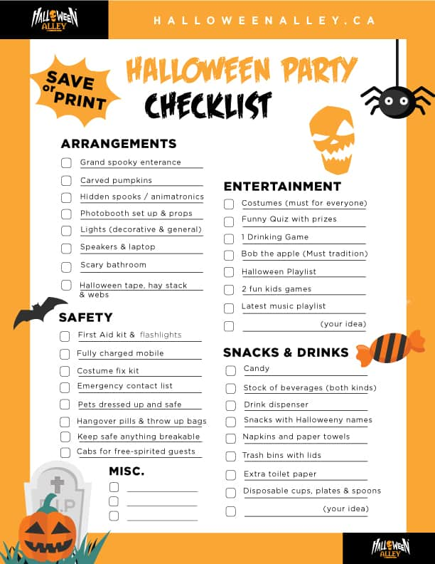 the ultimate printable halloween party checklist