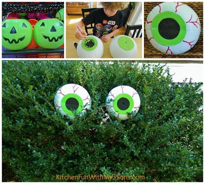 Halloween DIY spooky bush eyes