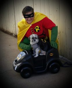 Batman and Robin Dog and dog owner