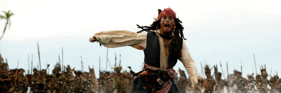 Jack sparrow running scene from Dead Man's Chest