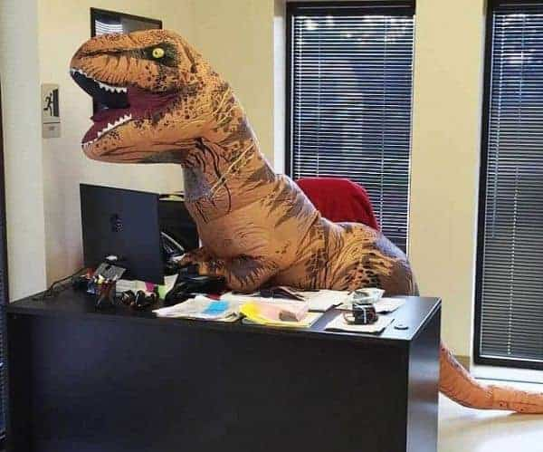 Inflatable T-Rex Costume At The Office
