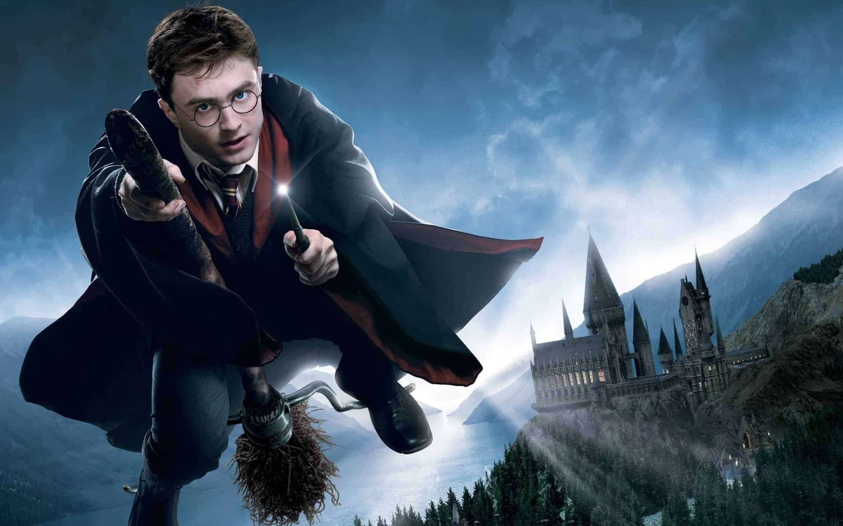 Harry Potter Riding A Broomstick
