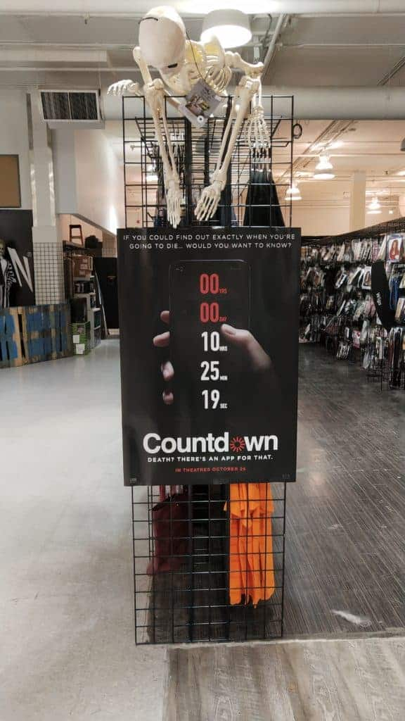 Countdown movie poster in a Halloween Alley store.